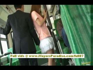 Rio asiática jovem grávida miúda getting dela peluda cona fondled em o autocarro