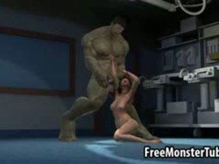 3d ξανθός/ιά μωρό gets πατήσαμε με ο incredible hulk