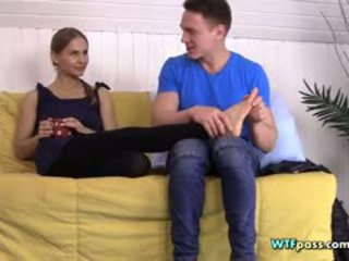 Couple Chatting And Enjoy Foot Massage