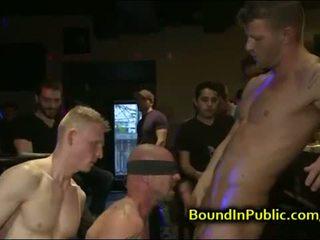 Baldheaded homo gangbang geneukt in bar