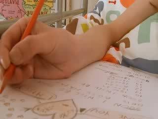 Ýaşlar mekdep gyzy doing hole homework