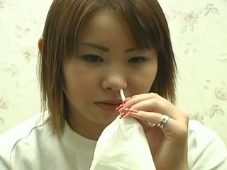 Sweet japanese teen bizarre nose playing for nasty fetish