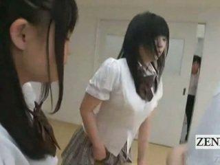 Subtitled jepang schoolgirls di thongs bokong judging