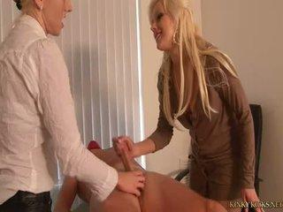 Two-blondes-torture-jerk-a-masked-man
