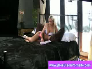 Bree Olson playing with her pussy in bed