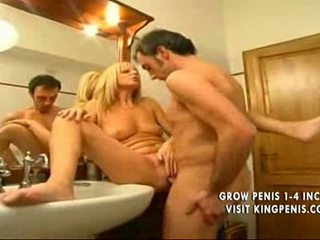 Blonde italian mother plays with son