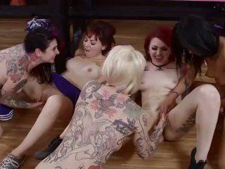 Five gothic cheerleaders licking hot twats