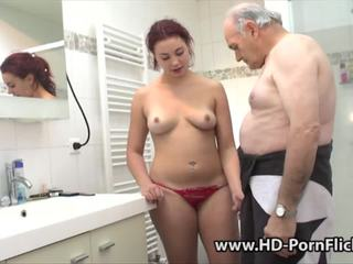 Redhead is fucked by her boyfriend followed by a grandpa