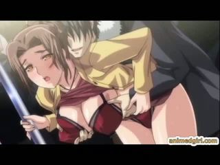 Naughty hentai gets pinched her bigtits and clitoris and groupfucked in the train