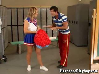 Naughty cheerleader gets her ass spank...