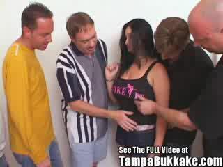 Big Tit babe Ravaged by Bukkake Boys!