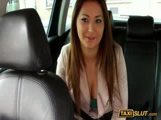 Busty amateur babe Lana fucks while being filmed with the driver