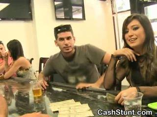 Pretty Brunette Amateur Sucks During Money Talks Stunt