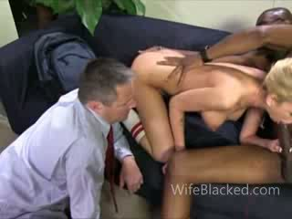 Cuckold wife prefers black dick while shamed husband watches