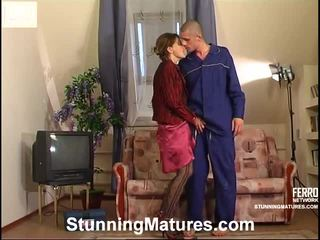 milf sex, porn girl and men in bed, porn in and out action
