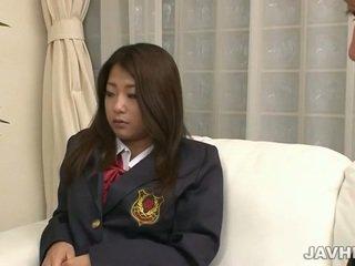 Japonez scolarita toying și sugand