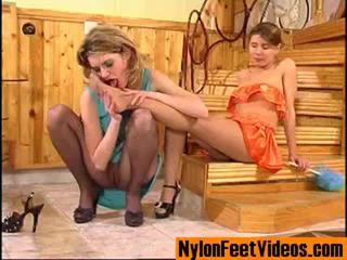 Ninette And Alice Erotic Stockings Feet Scene