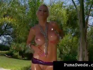 Nordic Busty Blonde Puma Swede Straddles Her Dildo.
