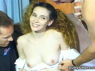 Sexy Babysitter Has Rammed By 2 Chaps
