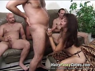 Aged Dame About A Pleasant Unshaved Beaver Serves Having Xxx And Mouthjobing For A Bunch Of Men