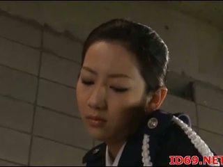 Japanska av modell i henne nylonstrumpor