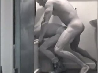 Black and white butt fuck in restroom