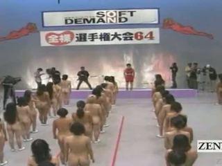 Subtitled liels nūdists grupa no japānieši sievietes stretching