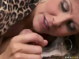 Lovely bitch Julia Ann munches the lucky lovers thick cock with pleasure
