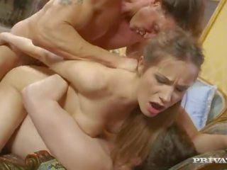 brunette, orale seks, dubbele penetratie