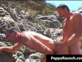Two gay guys suck cock and fuck outdoor