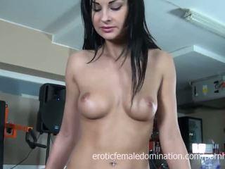brunetă, masturbeze, euro