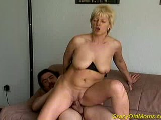 Crazy old mom gets fucked hard and cumshot on tits Video