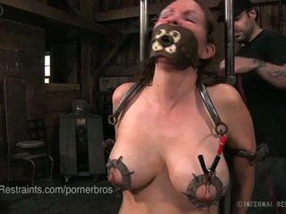 brunette, grote borsten, marteling