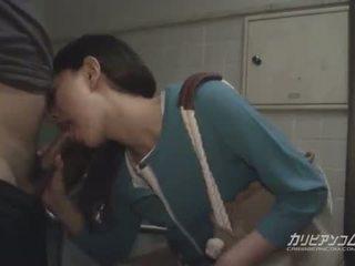 Asian milf blowjob at public restroom