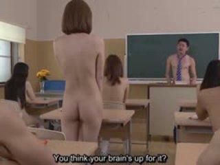 Subtitled uncensored japoniškas nudistas mokykla pop quiz