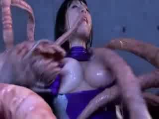 Monstro tentacles jizzing grande titty asiática porno attacker tudo o corpo