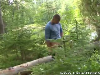 Hitchhiker couple fuck in the woods