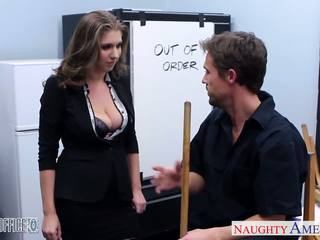 Stockinged cutie alex chance nailed in the kantor