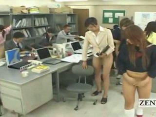 Subtitled helft naakt bottomless japans school- kantoor