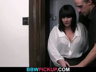 BBW jumps on a totally stranger's cock