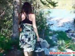 brunette, outdoors, big tits