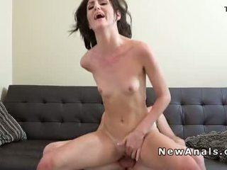 Flat chested girlfriend anal fucks